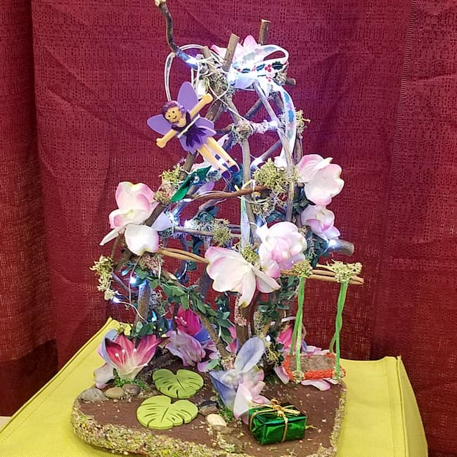Twig Fairy House - Lights Up - Flowers - Swing - Fairy Doll Included - 13'' Tall - Hand Made
