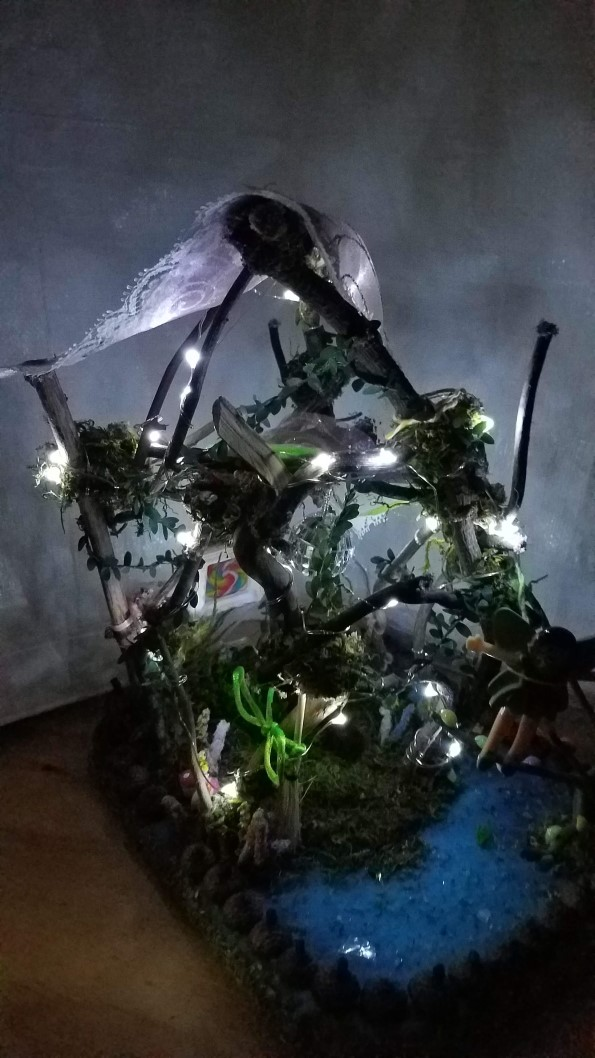 Twig Fairy House - Lights Up - Bed - Canopy - Table - Fairy Garden -  Fairy Doll Included - 12