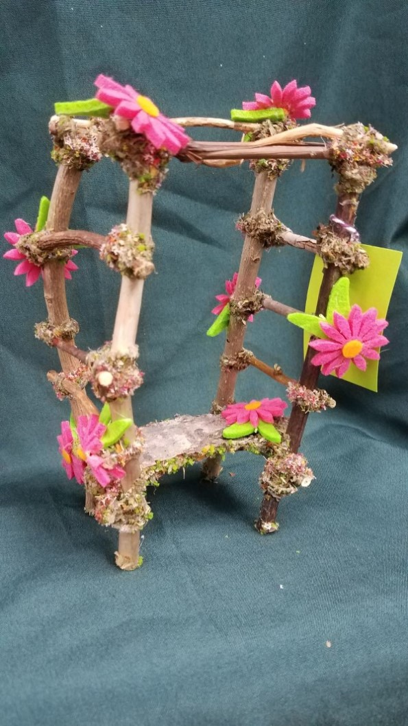 SALE!  Twig Gazebo with  Pink Daisies