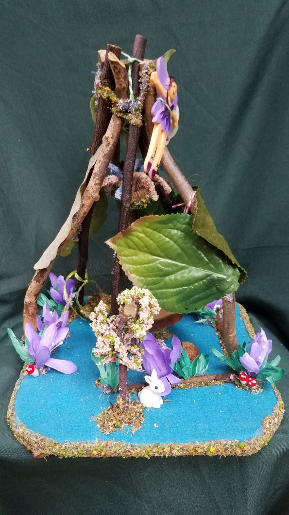 Twig Fairy House - Table - Purple Flowers - Bunny - Fairy Garden - Fairy Doll Included - 10