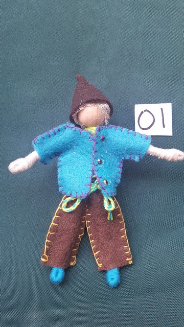 Elf Doll - Blonde Hair - Brown Pants - Turquoise Jacket - Brown Hat - Fairy - Dollhouse - 6