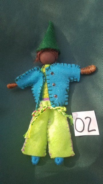 Black Elf Doll - Brown Hair - Lime Pants - Turquoise Jacket - Green Hat - Fairy - Dollhouse - 6
