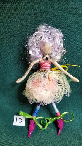Fairy Doll - Pink Curly Hair - Pink Petal Skirt - Pink Feet - Fairy Garden - Dollhouse - 6