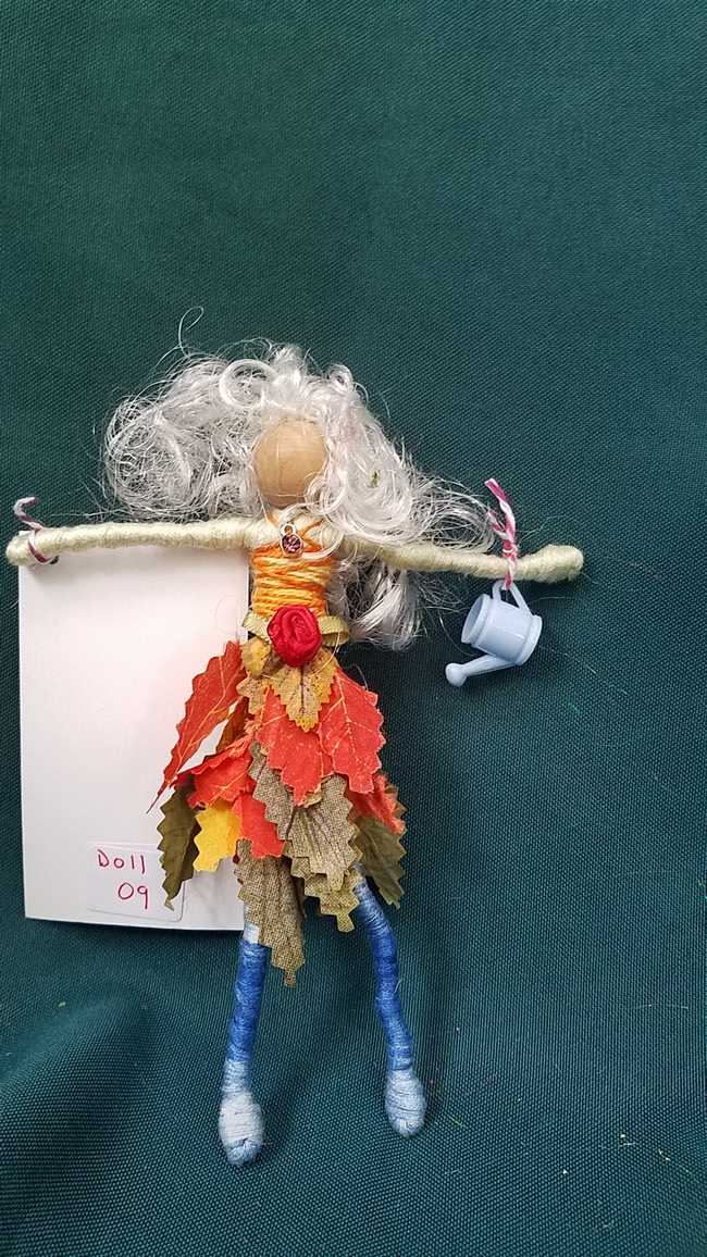 Fairy Doll - White Curly Hair - Orange & Green Leaf Skirt - Blue Feet - Fairy Garden - Dollhouse - 6