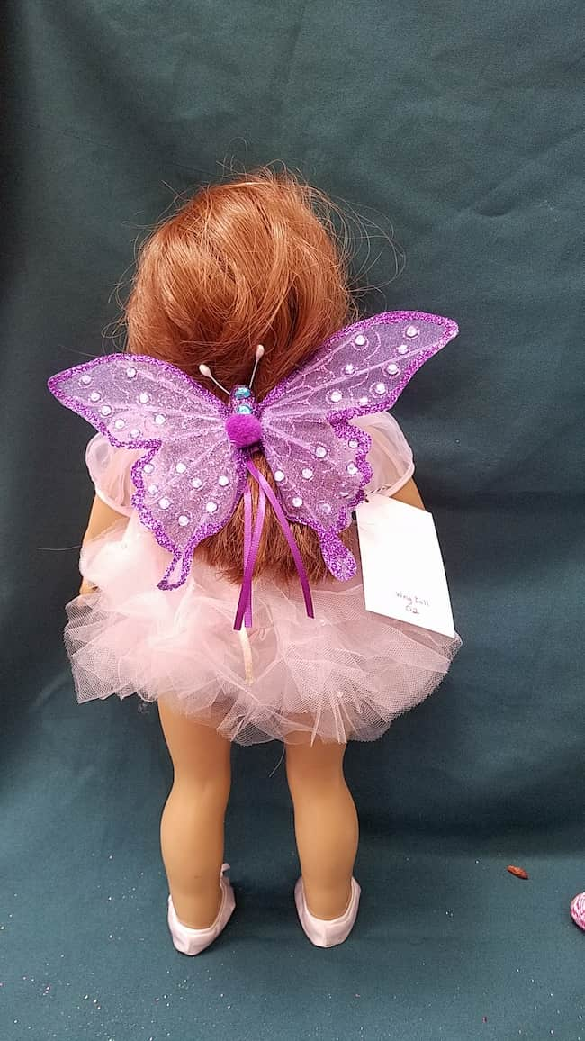 Fairy Wings for Doll - Sparkly Purple  Butterfly