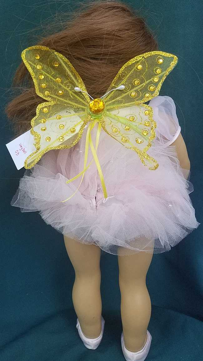 Fairy Wings for Doll - Sparkly Yellow Butterfly