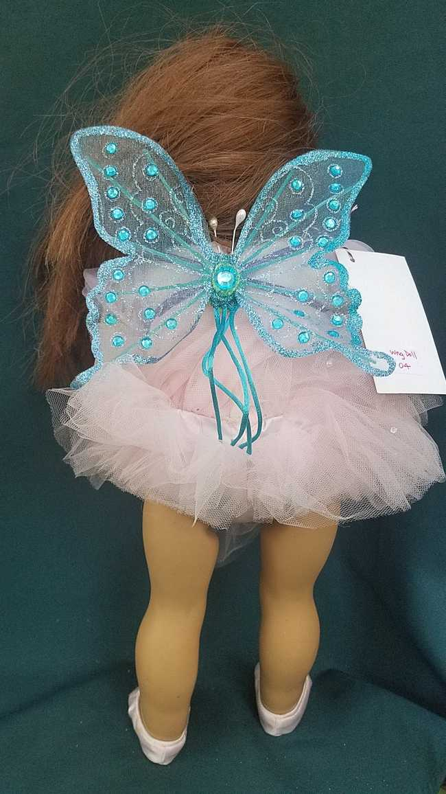 Fairy Wings for Doll - Sparkly Teal Butterfly
