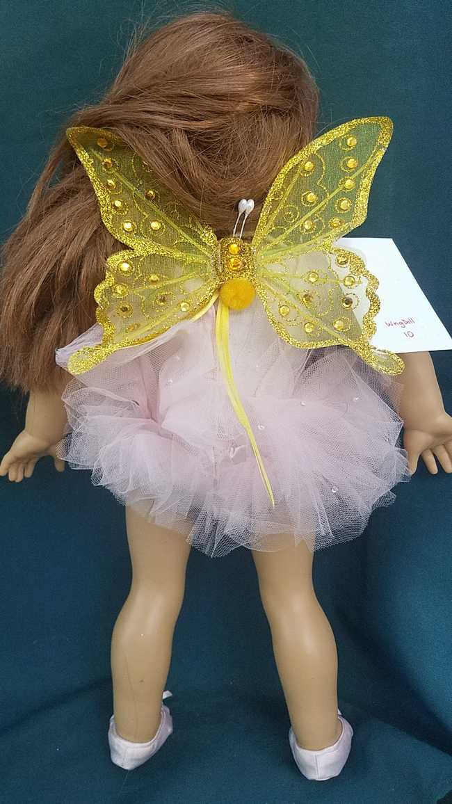 Fairy Wings for 18'' Doll - Yellow Butterfly - American Girl or Any Size Cat