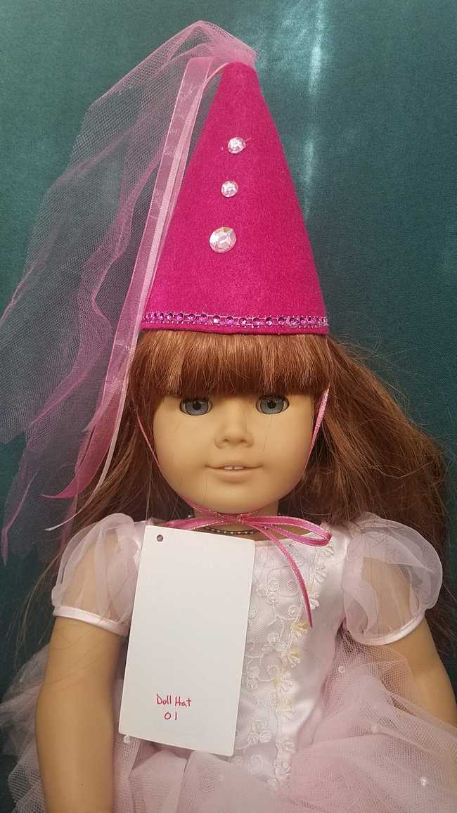 Doll Fairy Princess Hat Fuchsia Fits 18 Dolls or Any Size Cat