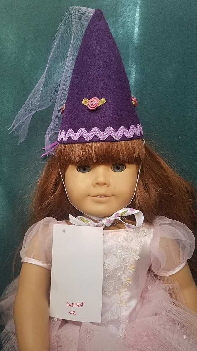 Fairy Princess Doll Hat - Purple - Pink Roses - Doll Clothes - Fits 18