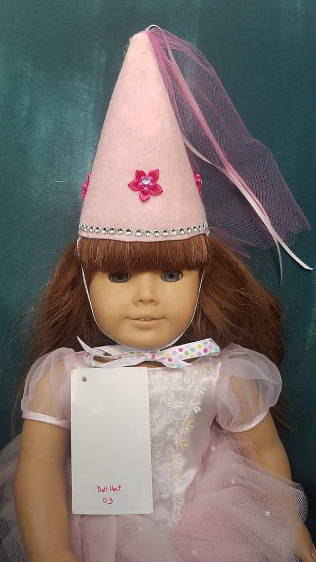 Fairy Princess Doll Hat - Pink - Pink Flowers - Doll Clothes - Fits 18