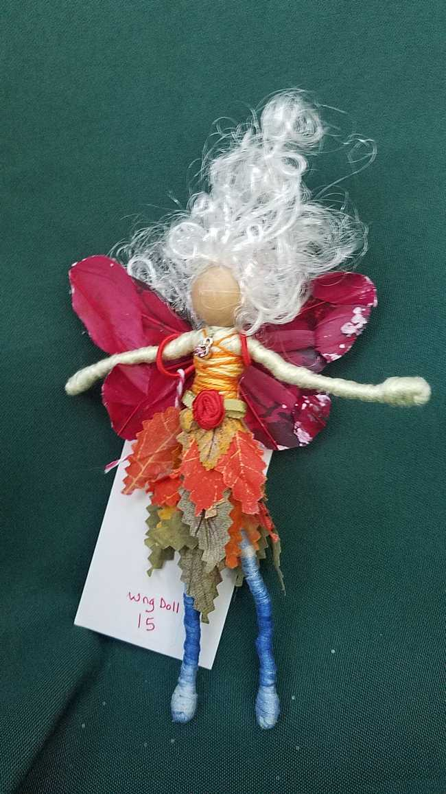 Butterfly Sparkly Fairy Wings for Small Dolls - Dark Pink - 3 inches