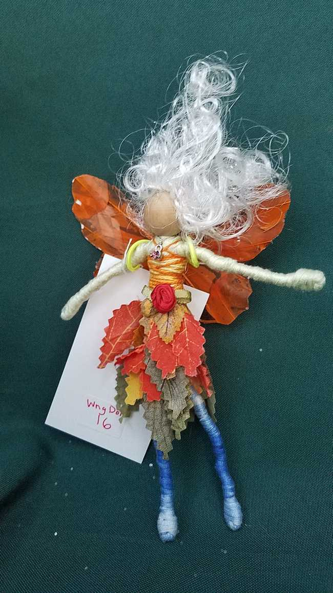Butterfly Sparkly Fairy Wings for Small Dolls - Orange - 3 inches