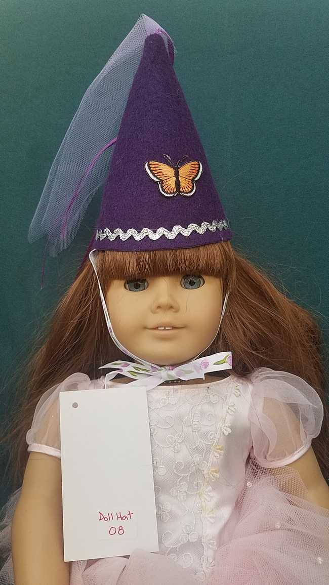 Fairy Princess Doll Hat - Purple - Orange Butterfly - Doll Clothes - Fits 18