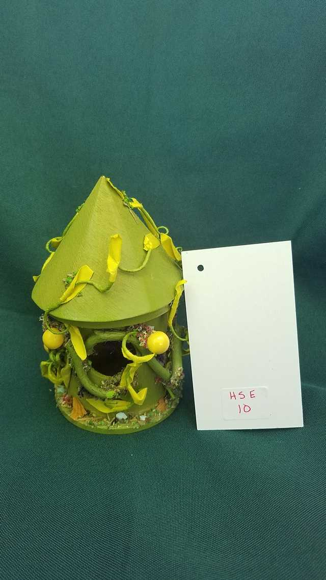 Miniature Wood Fairy House - Round - Moss Green - Vines - Fairy Garden - 5