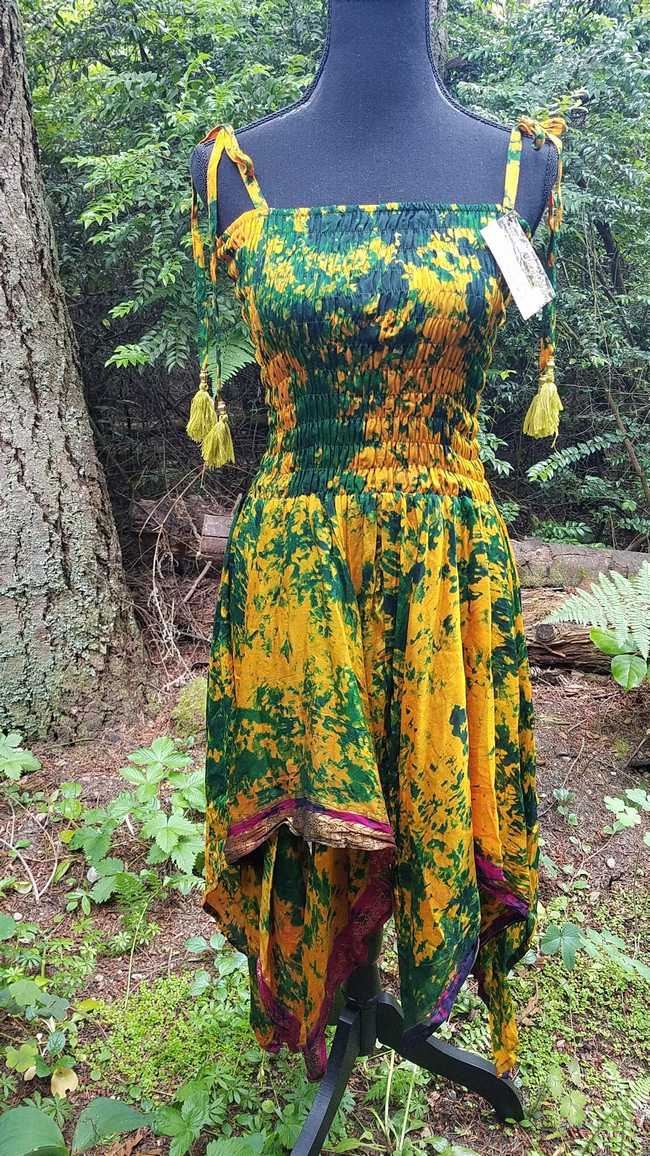 Goldenrod & Dark Green Silk Tie Dye Dress with Layered Skirt  and Shoulder Ties -  One Size