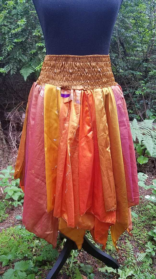 Petal Skirt - Yellow/Orange/Brown - Smocked Waist - Multi Layers -  Dance - Fairy - Silk - One Size