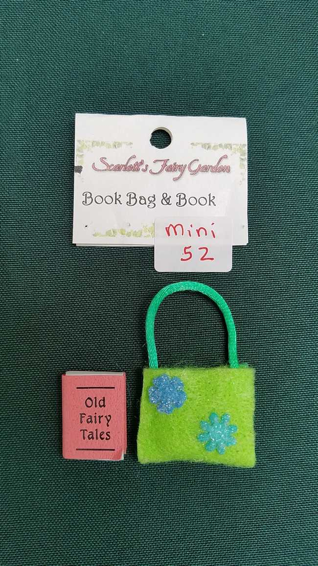 Miniature Green Felt Book Bag - Fairy Tale Book Included - Dollhouse - Fairy - Barbie - 2'' - Hand Made