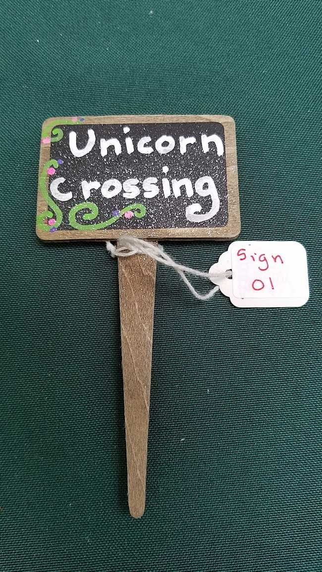 Fairy Garden Sign - *Unicorn Crossing* - 4