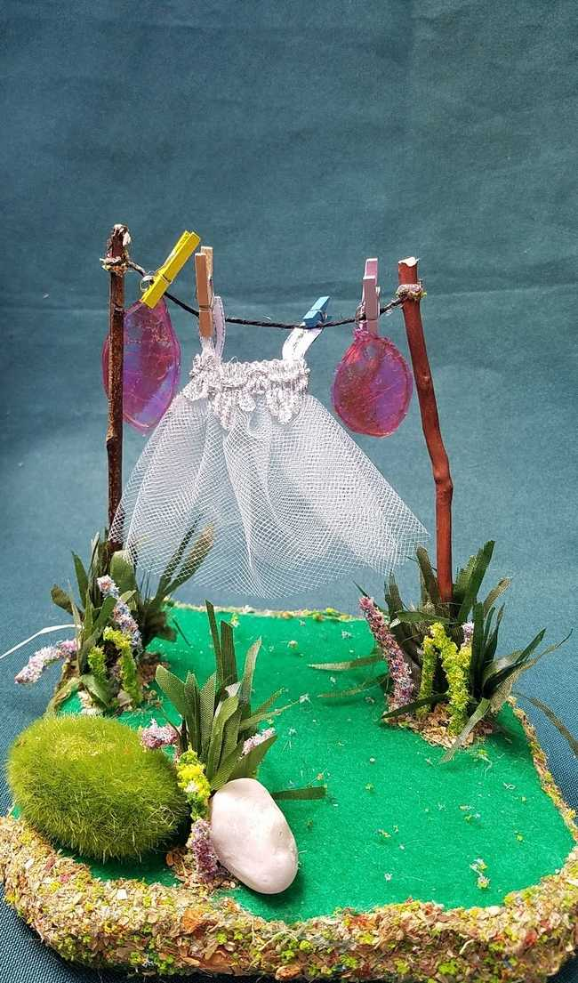 Miniature Twig Clothesline - Tiny Dress - Purple Wings - Flowers - Moss - Clothespins - Fairy Garden - 6