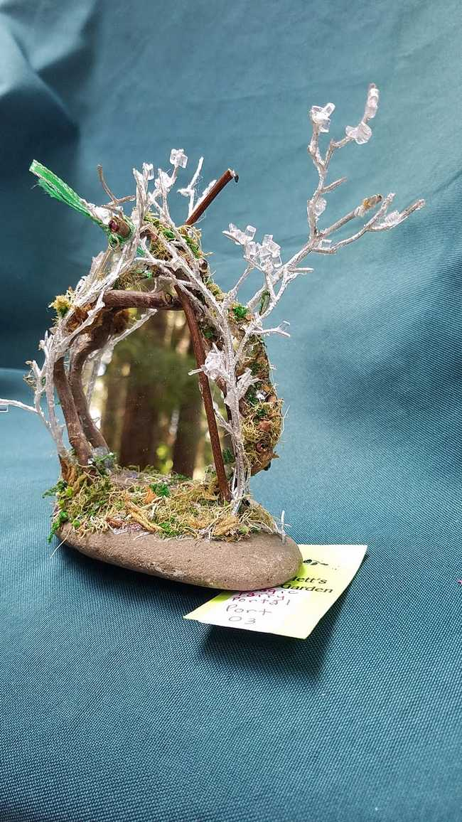 Miniature Magic Fairy Portal Door - Mirror - Rock - Sparkly Branches - Fairy Garden - 6