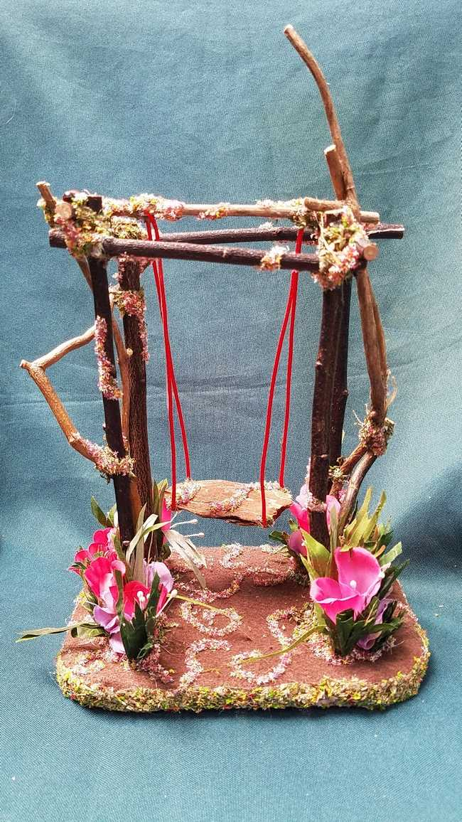 Fairy Garden Swing with Bark Seat Twigs Moss Red & Purple Flowers White Bunny