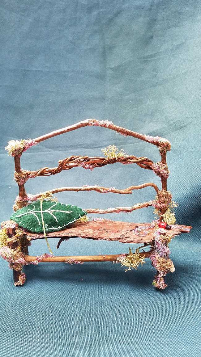 Fairy Garden Twisty Twig Bench with Bark Seat Green Leaf Pillow Flowers Moss Ladybug
