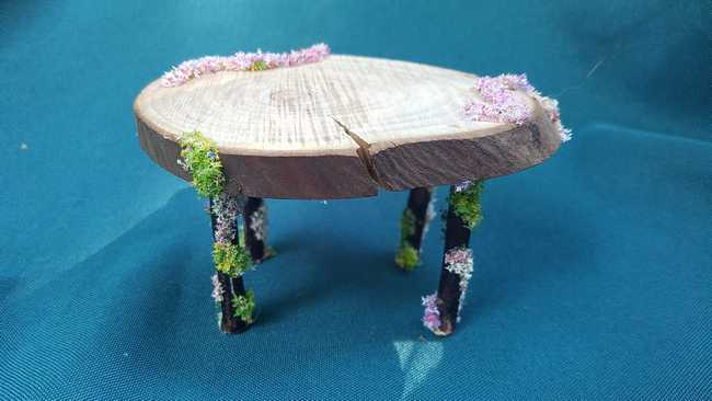 Large Oval Wood Table with Floral Garland Fairy Dollhouse Unique 2.5