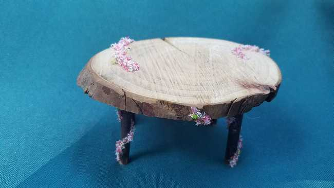 Large Oval Wood Table with Floral Garland Fairy Dollhouse 2