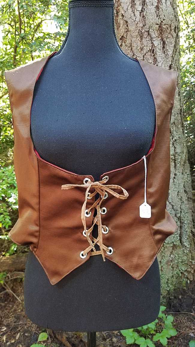 Vest - Corset - Adult XL - Plus Size - Reversible - Lace Up - Brown/Red Silk - Pirate - Festival - Hand Made
