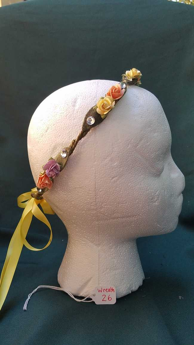 Hair Wreath -  Adjustable Size - Fairy - Yellow & Peach Flowers - Yellow  Ribbon - Wedding - Festival - LARP - Hand Made