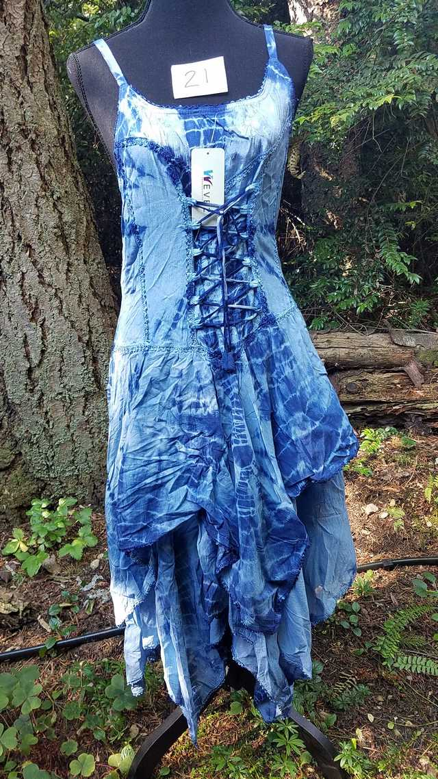 Tie Dye Dress - Dark Blue & Light Blue -  Layered Skirt - Lace Up Corset Style - Rayon - One Size