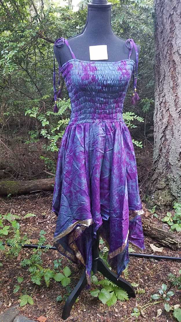 Tie Dye Dress - Blue & Purple - Layered Skirt - Shoulder Ties - Smocked Bodice - Silk - One Size