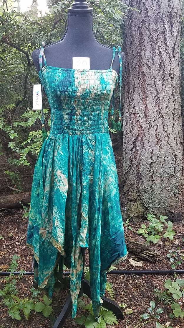Tie Dye Dress - Dark Green & Beige - Layered Skirt - Shoulder Ties - Smocked Bodice - Silk - One Size