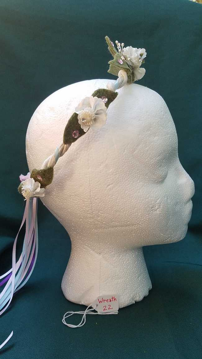Hair Wreath - Fairy - White Flowers - Pink Gems - Pink/Blue/Purple Ribbon - Wedding - Festival - Hand Made