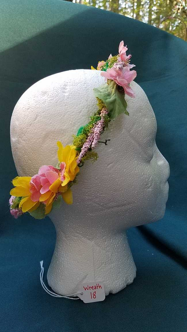 Hair Wreath - Fairy - Pink/Yellow/Purple Flowers - Wedding - Festival - Hand Made