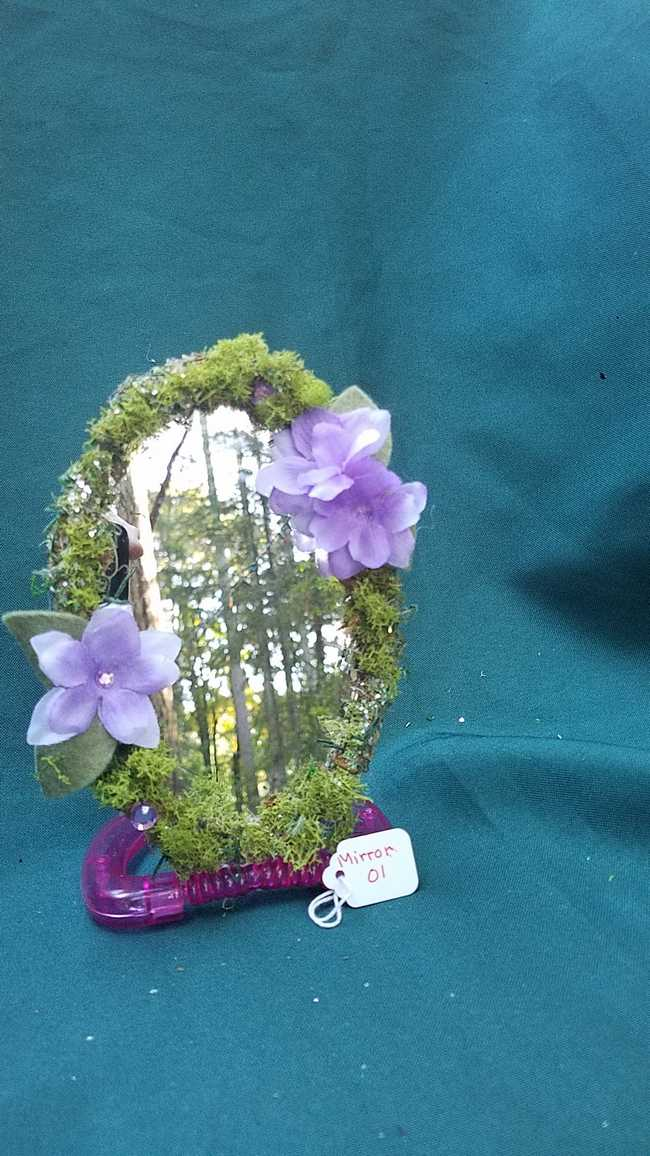 Mirror - Oval Shape - Moss Covered - Pink Base - Purple Flowers -  Sparkles - 6' Tall - Hand Made