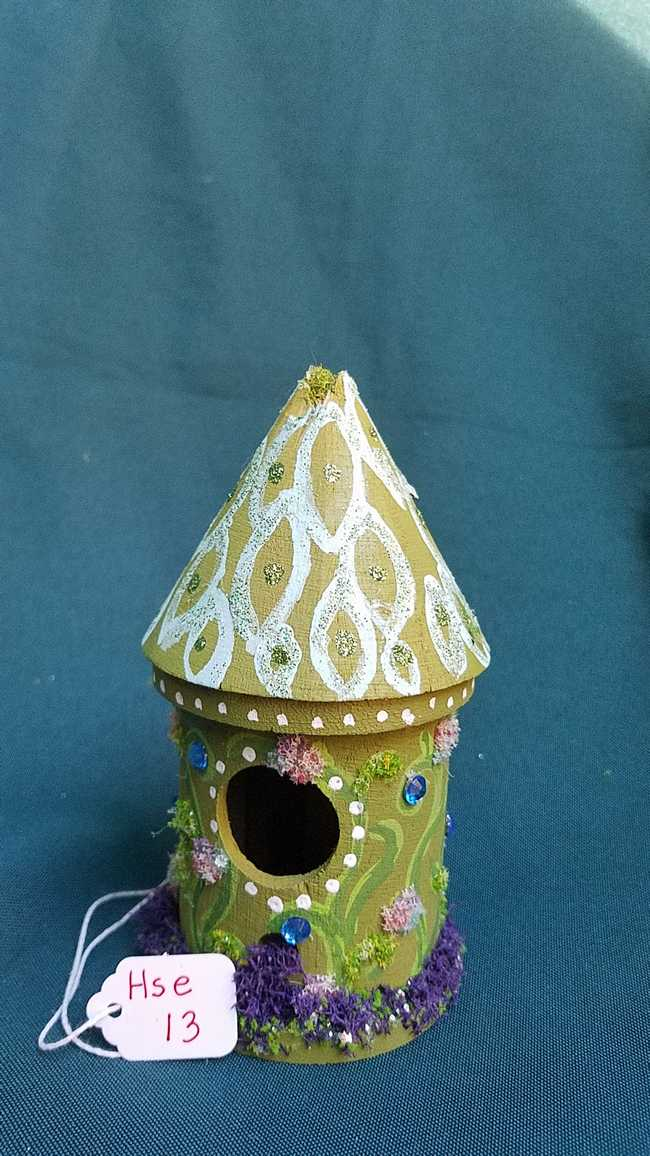 Miniature Wood Fairy House - Round - Moss Green - Vines - Fairy Garden - 5'' Tall Hand Made