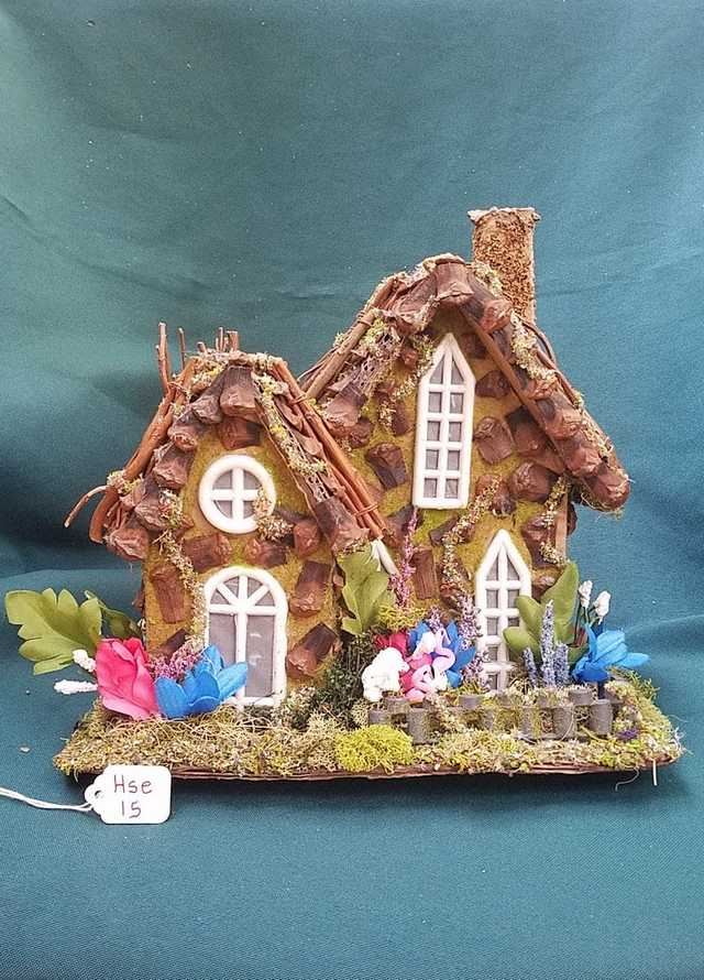 Fairy House - Pink Flamingos - Blue/Pink/White Flowers - Twig Tree - Windows - Chimney - 8.5