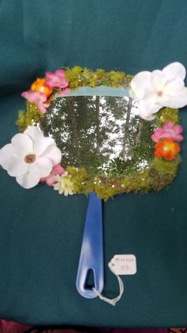 Mirror - Square Shape - Moss Covered - White/Orange/Pink Flowers - Orange Butterfly - Sparkles - 11
