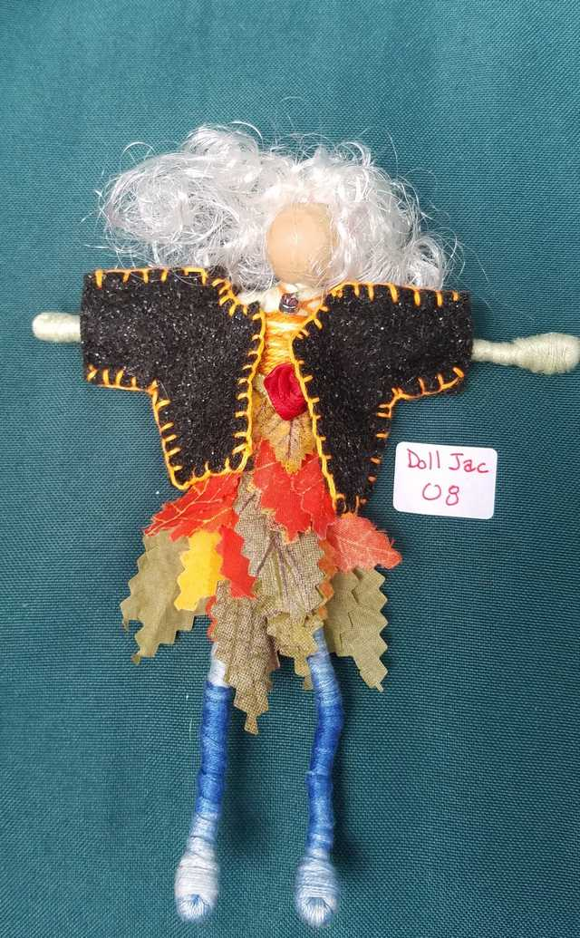 Doll Jacket - Miniature - Black Felt - Clothes - Fairy - Hanger Included - 2