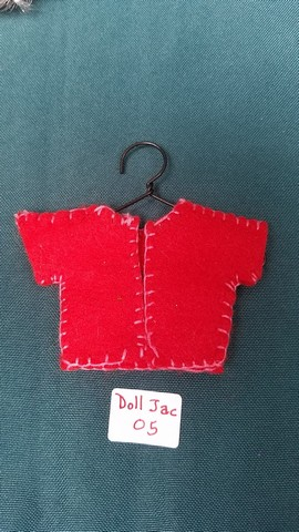Doll Jacket - Miniature - Red Felt - Clothes - Fairy - Hanger Included - 2