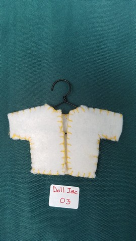 Doll Jacket - Miniature - White Felt - Clothes - Fairy - Hanger Included - 2