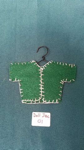 Doll Jacket - Miniature - Green Felt - Clothes - Fairy - Hanger Included - 2