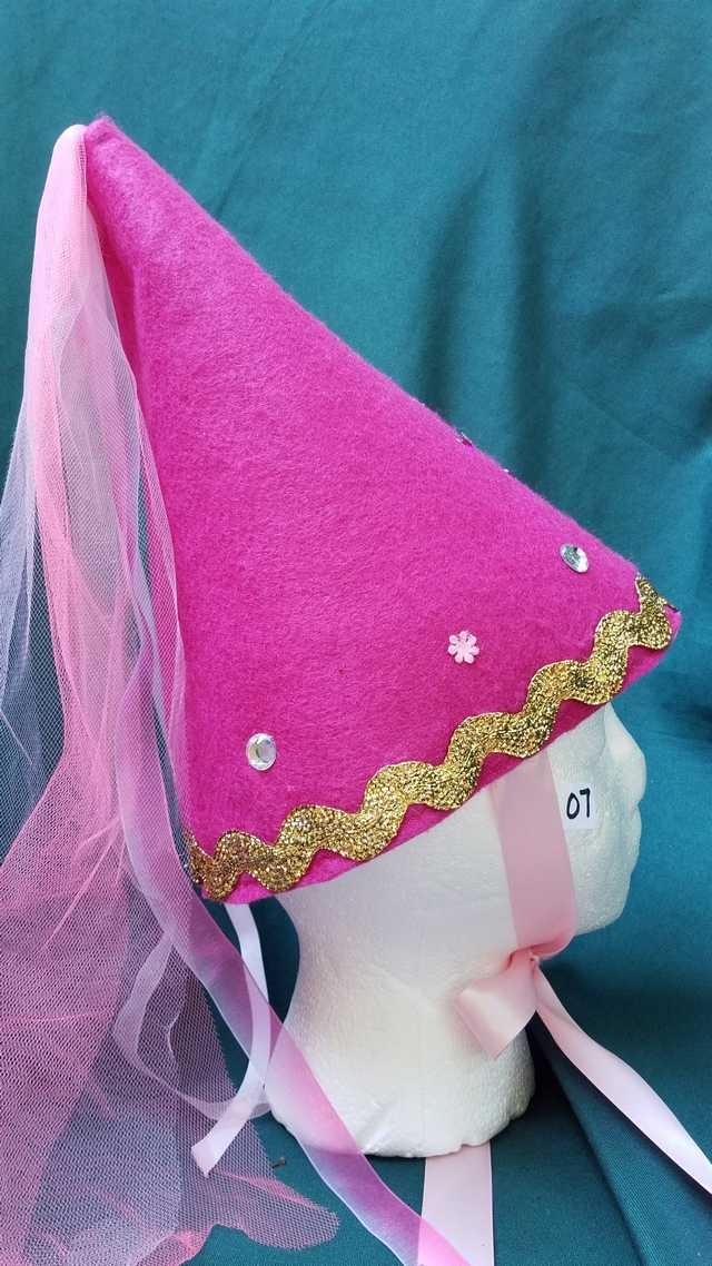 Princess Hat - Dark Pink Felt - Veil & Ribbons - Fairy - Costume - 11'' Tall - One Size - Hand Made