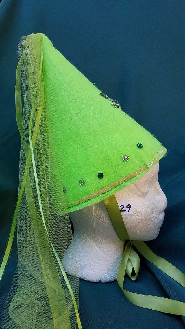 Princess Hat - Lime Green Felt - Veil & Ribbons - Fairy - Costume - 11'' Tall - One Size - Hand Made