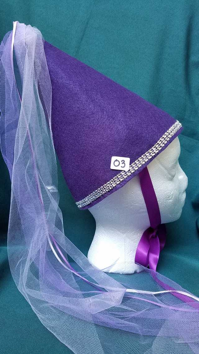 Princess Hat - Purple Felt - Veil & Ribbons - Fairy - Costume - 11'' Tall - One Size - Hand Made