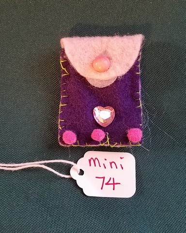 Miniature Fairy Doll Backpack -  Purple & Pink - 5 Piece Set - Brown Suede Journal with Pencils- Hand Made